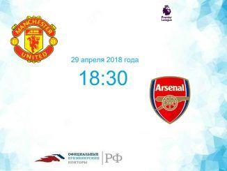 Манчестер Юнайтед - Арсенал прогноз и коэффициенты на матч 29 апреля 2018