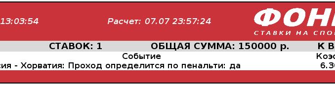 Серия пенальти в матче Россия- Хорватия стала удачной для игрока Фонбет