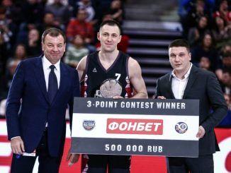 Виталий Фридзон выиграл конкурс трехочковых и получил 500 000 рублей от БК «Фонбет»